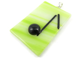Vintage, Music Note, Pendant, Green Art Glass