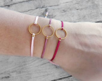 Circle charm bracelet, friendship bracelet, macrame bracelet, minimal bracelet, geometric, gold, bracelet set, jewelry, gift, women, trendy