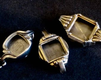 Vintage  Watch parts - Gold and silver watch Cases -  Steampunk - Scrapbooking  v86
