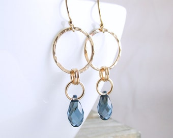 Gold Hoop Earrings Gold Earrings Crystal Earrings Dangle Earrings Gold Crystal Drop Earrings Choice of Colors Holiday Gift For Her