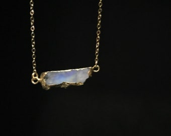 Mothers Day Special; Moonstone Pendant Necklace; Genuine Natural Rainbow Moonstone Pendant in 14k Gold Filled Chain;