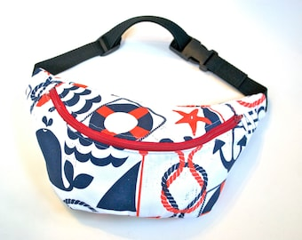 Sale 50% off LAST ONE Bumbag Fannypack  pirate fabric red ykk zip. fully lined fanny pack with key ring tab for children