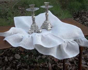 Ivory White Burlap Table Runner Ruffled Runner Custom Size French Country Farmhouse Wedding Decor  Prairie Ruffled Burlap Runner