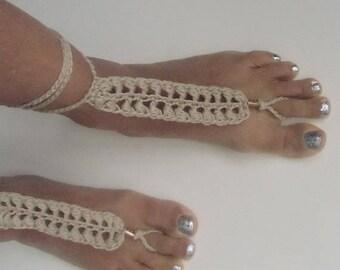 Barefoot Sandals, Crochet Beaded Bobble Khaki, Beach Wedding Barefoot, Beachwear Barefoot, Summer wear Poolside Barefoot