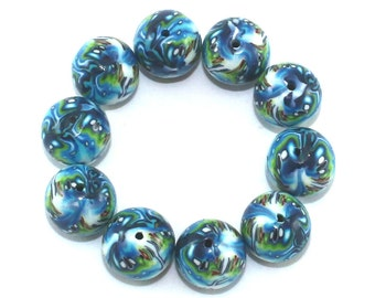 Round ball beads,  artisan beads, Polymer clay beads, round abstract beads in blue and turquoise, set of 10 millefiori beads