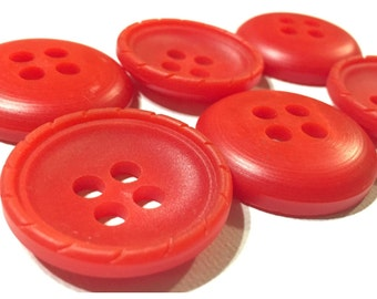 Set of Two Big Red Chunky Buttons, Pair of Large Red Buttons, Lot 139