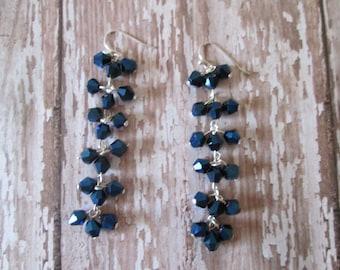 Long Dangle Dark Blue Silver Earrings, handmade jewelry, gift idea, bling earrings, made in USA, silver earrings, sparkling shiny earrings