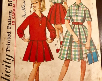 1960's Simplicity Pattern #5089 Girls Skirt and Blouse