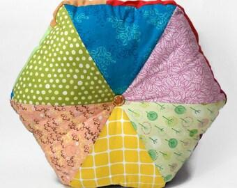 """Think Pink! 16"""" Handmade Stuffed Hexagonal Wedge Cushion / For the home / Home Decor / Throw Pillow / Floor Pillow / Modern Pillow"""