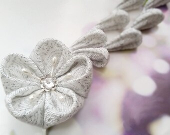 White And Silver Cherry Blossom Kimono Chirimen Fabric Flower Hair Clip