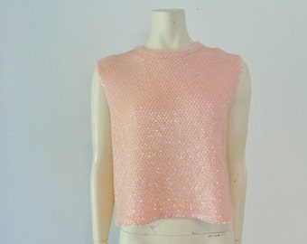 60s PINK SEQUINS sweater top shell size medium