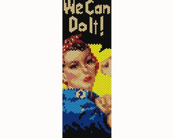Rosie the Riveter Peyote Bead Pattern, Bracelet Cuff Pattern, Bookmark, Seed Beading Pattern Delica Size 11 Beads - PDF Instant Download