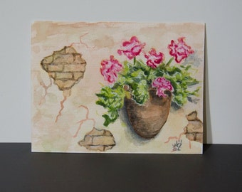 Original Watercolor Painting Flowers - 4x6""