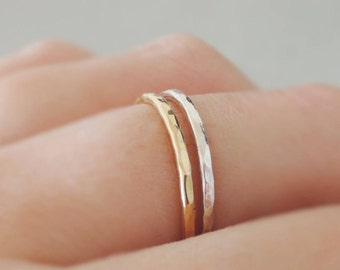 2 Stacking Rings minimalist ring set one Thin Gold Ring and one Silver Ring hammered stackable rings mixed metal minimalist ring set