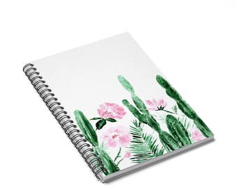 Floral Cactus Notebook, cactus notebook, floral notebook, flower notebook, cactus journal, floral journal, flower journal