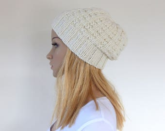 Winter white Beanie Cream Knit hat Womens Slouchy hat