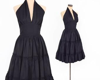 50s Black Halter Dress | Black Silk Taffeta Halter Party Dress | Small