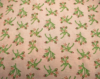 floral fabric, quilting fabric, sewing fabric, peach fabric, cotton fabric, meadow song fabric, makower uk, green pink fabric
