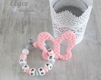 Rattle Teether personalized Butterfly CYPRANE silicone beads