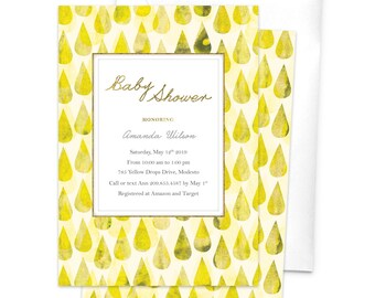 Yellow Rain Drops Baby Shower Invitation Baby Boy Baby Girl Shower Invites Unique Fun Cute Raining New Baby Invitation Water Droplets