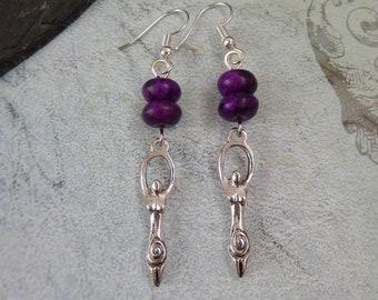 Mother Earth Goddess Purple Jade Heart Gemstone Bead Earrings Wiccan/Pagan UK