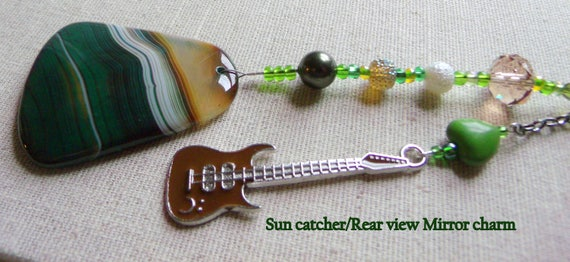 Green guitar sun catcher - rear view mirror charm - honey agate pendant - rock band memento - Musician gift - Boyfriend - Fathers day