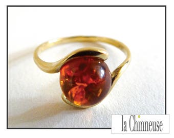 RING amber & gold / Vintage Amber ring / ring Vintage gold and amber / Vintage Jewelry / Gift for her.