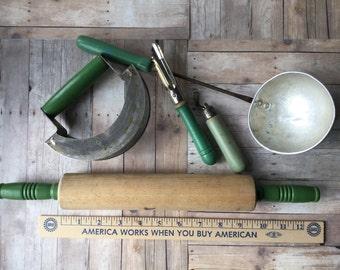 Vintage Green Handled Kitchen Utensils - 5