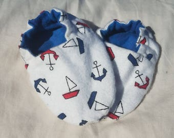 Baby Booties - Nautical Anchor Booties - Red White and Blue