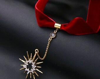 Statement necklace, Gemstone necklace, Chocker - Dancing Star