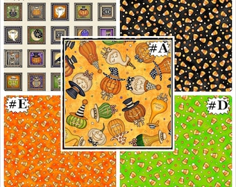 """Quilting Treasures """"Creepy Hollow"""" Halloween Pumpkins Candy Fabric Collection (Select)"""