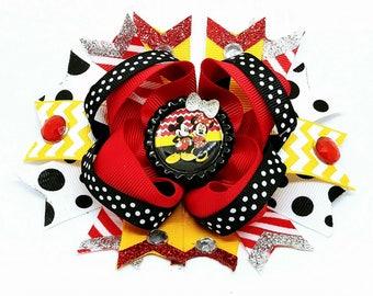 Minnie Mouse Spike Tail OTT Hair Bow Polka Dot Chevron Mickey