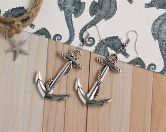 Large Anchor Earrings