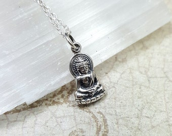 Kwan Yin necklace - Sterling Silver Bodhisattva necklace - Buddhist jewelry - goddess pendant - yoga jewelry - female Buddha - Buddhist gift