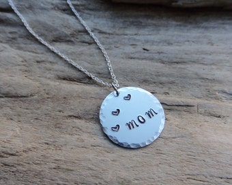 SALE Mom Jewelry Necklace Aluminum Hammered Hand stamped Metal  Pendant on Chain