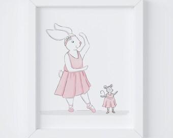 Bunny Ballerina - Art for Kids Spaces, Art Print, Nursery Art, Kid's Room Decor