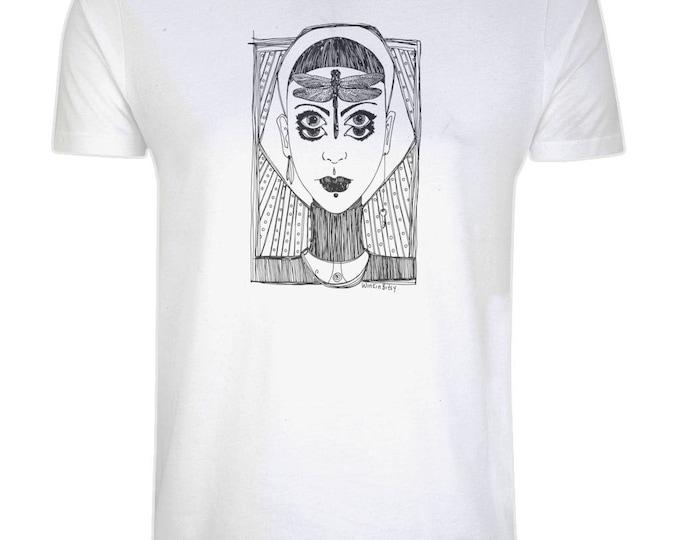 Dragonfly Girl Original Fantasy Line Drawing Illustrated Organic Cotton T-Shirt. White. Plus Sizes.