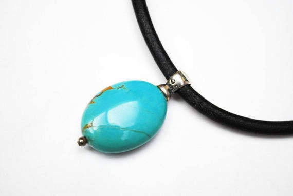 Turquoise necklace - Black Leather Cord - sterling silver - Boho Blue Gemstone