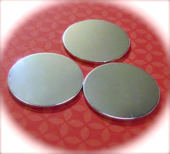"100 Discs 1.25"" 14 Gauge Polished NO HOLES Heavy Weight Pure Food Safe Metal - 100 Discs"