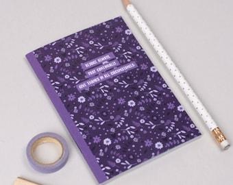 Prayer Journal | A6 mini notebook | purple floral notebook