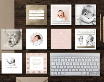Instagram Templates for Social Media & Marketing - Digital Photoshop Templates - Pre-made Branding Designs - Lily