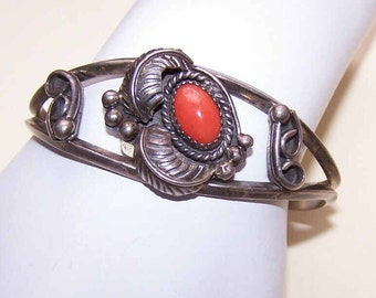 Vintage, Native American, Indian, Southwestern, Southwest, Sterling Silver, Red, Coral, Cuff, Bracelet, Gift, Item, Idea, For Her, Birthday