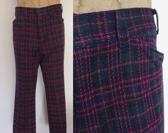 1970's Red & Green Plaid Polyester Trouser Pants Size Medium Large Short by Maeberry Vintage