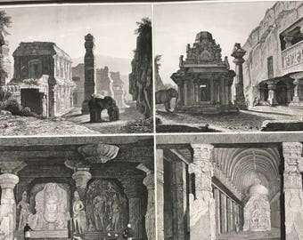 1849 Ancient Civilisations Large Original Antique Engraving - Mounted and Matted - 12 x 16 inches - Architecture - Asia - Victorian Decor