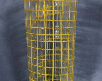 """Beautiful Vintage 12"""" Large Yellow Art Glass Cylinder Vase, Container, Murano Glass, Utensils, Thick Glass"""