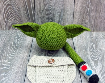 Baby Yoda Costume, Star Wars inspired costume, Yoda Baby Hat, Star Wars Baby, Newborn Star Wars Gift, Baby Boy Photo Props
