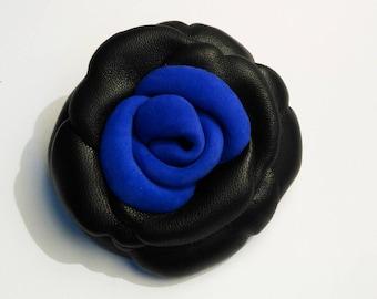electric blue nubuck and black lambskin leather flower brooch