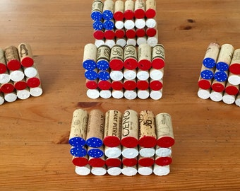 American flag, red, white, blue, corks, wine corks, holiday decor, Independence Day, 4th of July, Flag, art by carole, art carole store