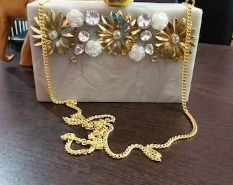Acrylic clutch with embellishments