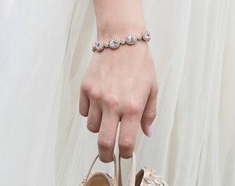 Bridal Jewelry, Wedding Bracelets, Gold Bracelet, Stackable Bracelet, Gold Bridal Bracelet, Crystal Bracelet, Wedding Accessories, B225-G